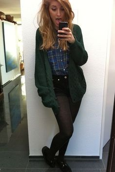 Tights, black shorts, flannel, and thick cardigan