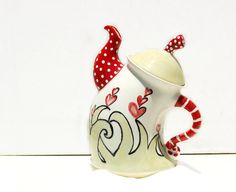 Whimsical Teapot hand painted for Serving Tea  by Dprintsclayful www.facebook.com/clayfulimpress www.Dprintsclayful.com www.clayfulimpressions.blogspot.com
