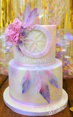 Dream Catcher cake - a rich chocolate cake filled with dark chocolate ganache buttercream perfect for chocoholics 💗 💗 Wild One Birthday Party, Birthday Parties, Birthday Ideas, Beautiful Cakes, Amazing Cakes, Dream Catcher Cake, Bohemian Cake, 14th Birthday Cakes, Boho Baby Shower