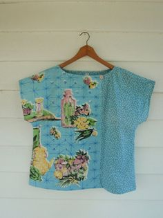 Upcycled Tea Towel Patchwork Women Top.  love the simple shape and asymmetrical front opening