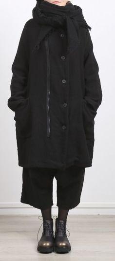 rundholz - Mantel mit Reißverschluss genoppt Oversize black - Winter 2017