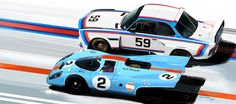 Two classic racing color ways: Gulf and BMW. Who do you think has the WINNING livery?