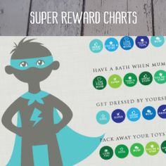 Personalised Kids Reward charts, superhero, Dino, Fairy and Mermaid in the shop as instant downloads, you can edit the tasks and details as your child grows