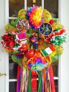 Gorgeous Fiesta/ Cinco De Mayo wreath! Authentic maracas and mini mariachi hat!