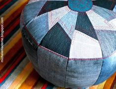 10 ways to repurpose used denim.  Especially like the ultra-durable denim pouf pictured here.  :)