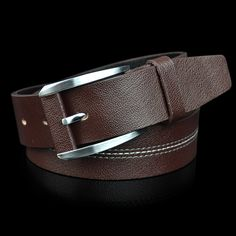 traditional  Pin buckle Men genuine leather belt  alloy buckle coffee black color free shipping