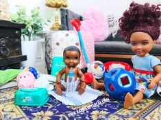 I collect Barbies and photograph them for my @ BarbieGetsReal Instagram/ dollstagram. This is such a sweet African American fashion doll family in the one sixth scale diorama with all the 1:6 size realistic miniatures. The Mini Fisher Price toys, Rement bottle and diapers, and tiny baby blanket make it look life like. This is part of a series. #barbiegetsreal #barbie #barbiedoll #africanamerican #mattel Barbie Kids, Baby Barbie, Barbie Doll House, Barbie And Ken, Barbie Happy Family, Fisher Price Toys, Real Doll, Beautiful Barbie Dolls, Bratz Doll