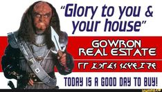 Aggressive Real Estate Agent via /r/funny Star Trek Meme, Star Wars, Klingon Empire, United Federation Of Planets, Star Trek Images, Star Trek Characters, Star Trek Universe, Star Trek Ships, Fandoms