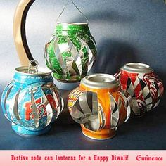 #Reuse & #recycle this Diwali with these festive soda can lanterns that are so much fun to make & look so beautiful strung together in a garland outside on #Diwali night...   Eminence India wishes everyone a very happy Diwali!