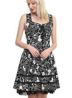 Disney Alice In Wonderland Sweetheart Dress, BLACK from Hot Topic
