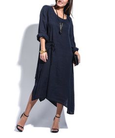 Look what I found on Navy Blue Asymmetric Linen Shift Dress Linen Tunic Dress, Spring Fever, Cold Shoulder Dress, Navy Blue, Chic, How To Wear, Black, Dresses, Nature