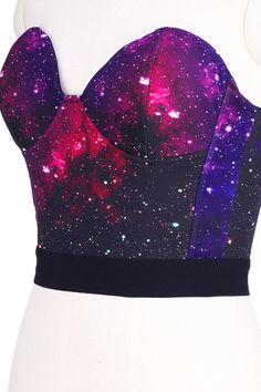 Purple Galaxy Print Bandeau Cute to wear under a sheer shirt or open-sided shirt Girls Fashion Clothes, Girl Fashion, Fashion Outfits, Fashion Design, Gothic Fashion, Galaxy Outfit, Belly Shirts, Galaxy Fashion, Galaxy Print