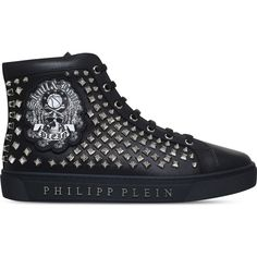 Philipp Plein Summertime Blues studded leather trainers (£915) ❤ liked on Polyvore featuring men's fashion, men's shoes, men's sneakers, mens blue sneakers, mens studded shoes, mens leather sneakers, mens leather shoes and mens blue leather shoes