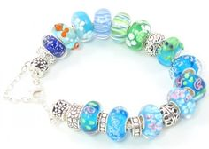 Glass European Turquoise Hawaii Ocean with Bubble Water Park Murano Bead