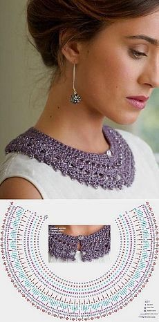 Crochet Patterns Scarves How to tie a collar crochet Col Crochet, Crochet Lace Collar, Crochet Amigurumi, Crochet Blouse, Crochet Chart, Crochet Scarves, Crochet Motif, Crochet Designs, Crochet Clothes