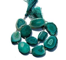 10Pcs Teal Green Agate Druzy Geode Slice Beads by RareGemsNJewels