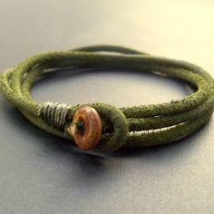 Mens olive green leather wrap bracelet.