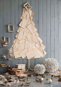 pages of a book for a christmas tree,