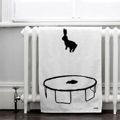 Bouncing Rabbit Tea Towel | Ham