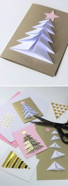 Handmade Christmas Card Ideas Many peoples spend lots of time and resources to make or acquire unique gifts for family and friends. But, accompanying them with the usual generic card is an Incredible Ideas for Christmas card: Folded Christmas tre Beautiful Christmas Cards, Christmas Tree Cards, Easy Christmas Crafts, Homemade Christmas, Christmas Art, Christmas Projects, Simple Christmas, Christmas Decorations, Christmas Ornaments