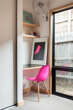 Pink eames moulded chair