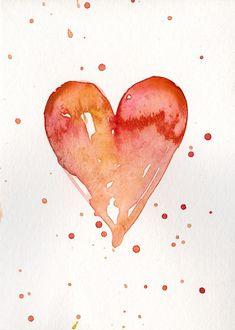 Watercolor Heart, Easy Watercolor, Watercolor Cards, Watercolor Illustration, Watercolor Paintings, Watercolors, Original Paintings, Valentine Drawing, Valentines Watercolor