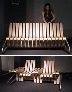 Each part of this cool furniture piece flips up or down... so you can have a couch, or a table, or chairs with side tables!