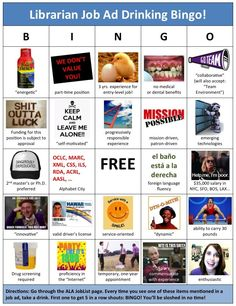 Librarian Job Ad Drinking Bingo
