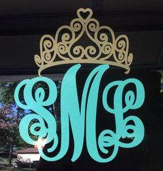 Crown and Script monogram vinyl decal for car LARGE Yeti Cooler Stickers, Yeti Decals, Vinyl Decals, Decals For Cars, Car Monogram, Monogram Stickers, Cricut Monogram, Diy Vinyl Projects, Vinyl Crafts