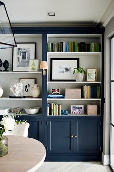 Bookcase Styling, Built In Bookcase, Painted Bookcases, Bookcase Wall, Classic Bookshelves, Painted Built Ins, Blue Bookshelves, Blue Shelves, Interior Desing