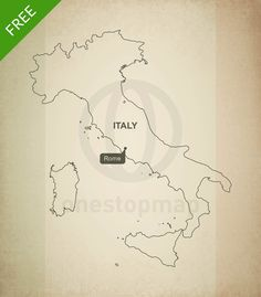 Printable and editable vector map of Italy outline showing country outline and flag in the background. A clipping mask is used to show only a part of the complete flag.
