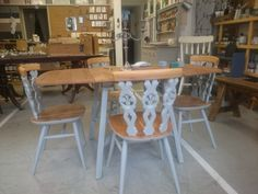Ercol drop leaf table and 4 Fleur de lys chairs. Table top seats and top rail stripped and refinished remaining wood painted in Paris Grey Chalkpaint ™ Ercol Furniture, Retro Furniture, Furniture Ideas, Ercol Dining Chairs, Dining Table, Drop Leaf Table, Paris Grey, Painting On Wood, Painted Tables