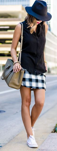 Black Fedora Hat Black Tank Plaid Skirt by For The Love Of Fancy