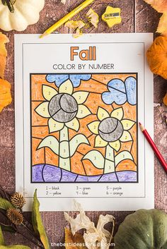 Sunflower Color by Number Printable Fall Crafts For Kids, Crafts For Girls, Toddler Crafts, Kids Crafts, Easy Crafts, Color By Number Printable, Printable Numbers, Fall Coloring Pages, Printable Coloring Pages