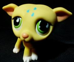 Littlest Pet Shop Yellow whippet GREYHOUND Dog  #875 with Green Eyes LPS Puppy #Hasbro