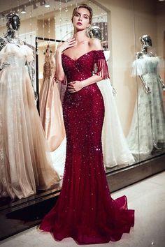 0c6258faba1f36 Brilliant Tulle V-neck Neckline Full-length Mermaid Evening Dress With  Beadings