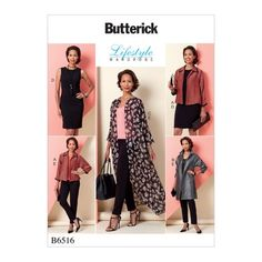 GBP - Butterick Sewing Pattern Misses' Jacket Dress & Pants Size 6 - 22 & Garden Clothing Patterns, Dress Patterns, Sewing Patterns, Coat Patterns, Corsage, Patron Butterick, Kimono Pattern, Shrug Pattern, Langer Mantel