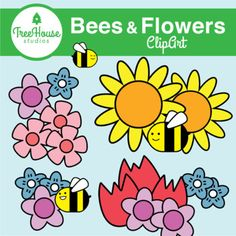 Summer Bees and Flowers Clip Art by Tree House Studios | TpT