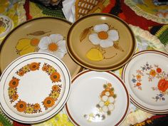 1970s plates - I'm fairly certain we had the middle bottom set.