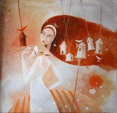 Janka Stašková - aJSha - dobrá chvíľa / good moment - 40 cm x 40 cm acrylic on canvas Female Art, Disney Characters, Fictional Characters, Disney Princess, Art Women, Projects, Painting, Canvas, Blue Prints