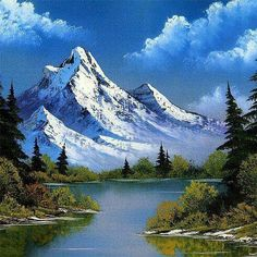Nature art painting bob ross new ideas Mountain Landscape, Landscape Art, Landscape Paintings, Landscape Photography, Nature Photography, Bob Ross Landscape, Mountain Paintings, Nature Paintings, Beautiful Paintings