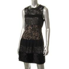 Diane Von Furstenberg Womens Alty Astra Metallic Sleeveless Cocktail Dress