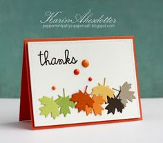 card leaf leaves Thanks card by Karin Åkesdotter for Paper Smooches - Sentiment Sampler, Large Leaf dies Diy Thanksgiving Cards, Holiday Cards, Making Greeting Cards, Greeting Cards Handmade, Handmade Fall Cards, Scrapbook Cards, Scrapbooking, Leaf Cards, Thanks Card