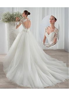 Fabulous Tulle Queen Anne Neckline Ball Gown Wedding Dresses with Beaded Lace Appliques