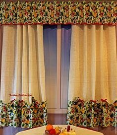 Купить шторы для кухни Лето дача земляника - белый, шторы, шторы для кухни, шторы на кухню