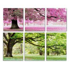Купить товарРукоделие, Сделай сам DMC вышивание, Комплект для вышивания, Точная отпечатано романтический деревья фабрики продаже счетный кросс колющие в категории Cross-Stitchна AliExpress.                   Весь размер около 111*52 см  (Зеленое дерево)  Или 111*57 см  (Розовое дерево)