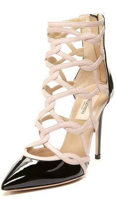 Valentino Cutout Pumps Ankle High Sandal Nude & Black Patent #Shoes #Heels