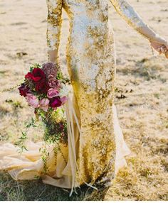 gold sequin wedding gown. #bridal