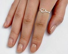 .925 Sterling Silver Ring size 3 Heart Midi Knuckle Fashion Kids Ladies New p56