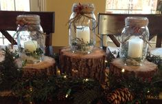 Holiday Crafts with Mason Jars | Christmas or Winter candles made with mason jars and cut ... | crafts